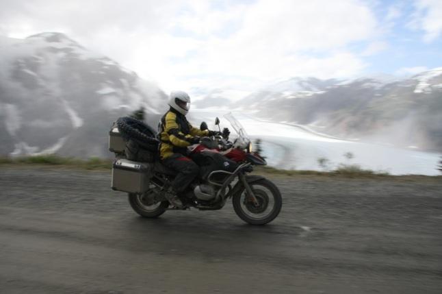 BMW 1200 GS Adventure over the Salmon Glacier in BC