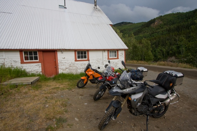 Three Adventure bikes at the River Song