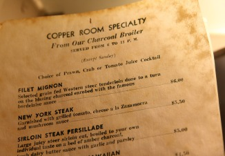 Copper Room: A Menu Trapped in Amber