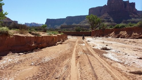 Riding through one of the washes